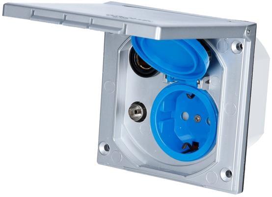Carbest Multi-Außensteckdose 12/230V für TV-Sat/Antenne, silbergrau
