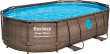 Bestway Power Steel Swim Vista Series Pool Komplett-Set, oval, mit Sandfilteranlage, 488x305x107cm
