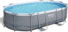 Bestway Power Steel Frame Pool, Komplett-Set, oval, 488x305x107cm, inkl. Filterpumpe 3028 l/h