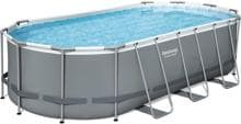 Bestway Power Steel Frame Pool, Komplett-Set, oval, 549x274x122cm, inkl. Filterpumpe 5678 l/h