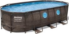 Bestway Power Steel Swim Vista Pool, Komplett-Set, oval, 549x274x122cm, inkl. Filterpumpe 5678 l/h