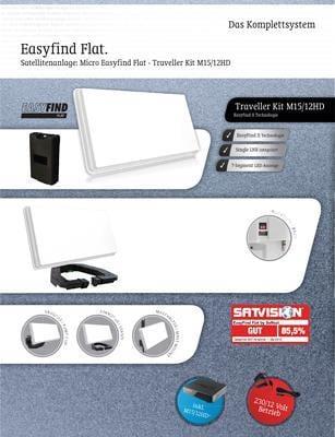 easyfind flat traveller kit portable satantenne inkl hd. Black Bedroom Furniture Sets. Home Design Ideas