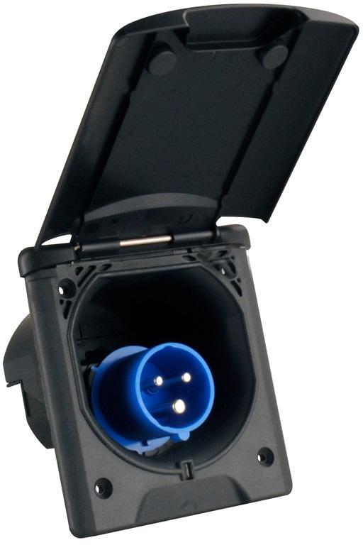 Caravan Einspeisungsstecker CEE-Stecker mit Klappdeckel