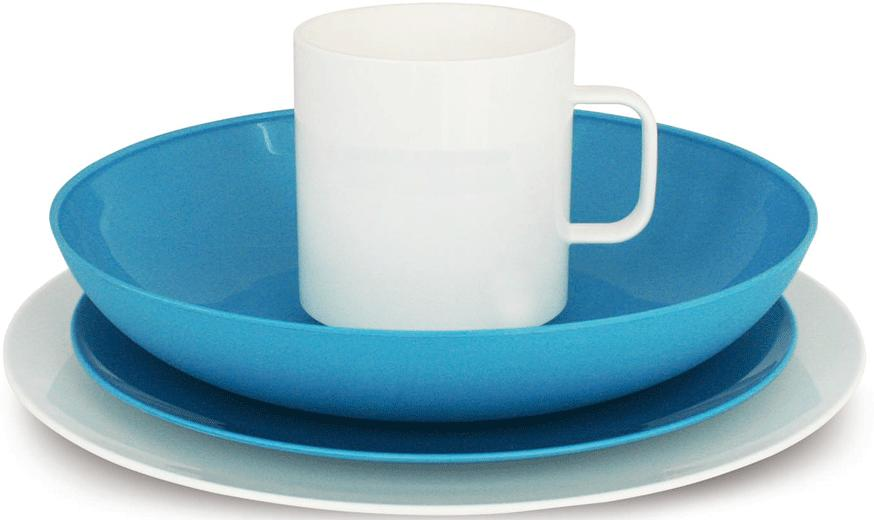 geschirr set eurotrail eco family bistro blau wei 16tlg von eurotrail bei camping wagner. Black Bedroom Furniture Sets. Home Design Ideas