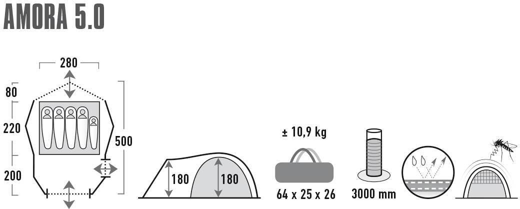 High Peak Kuppelzelt Amora 5.0 hellgrau Zelt
