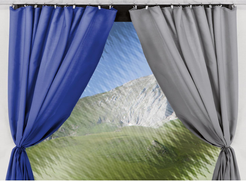 thule residence gardinen set blau f r 350 400cm von thule omnistor markisen bei camping wagner. Black Bedroom Furniture Sets. Home Design Ideas