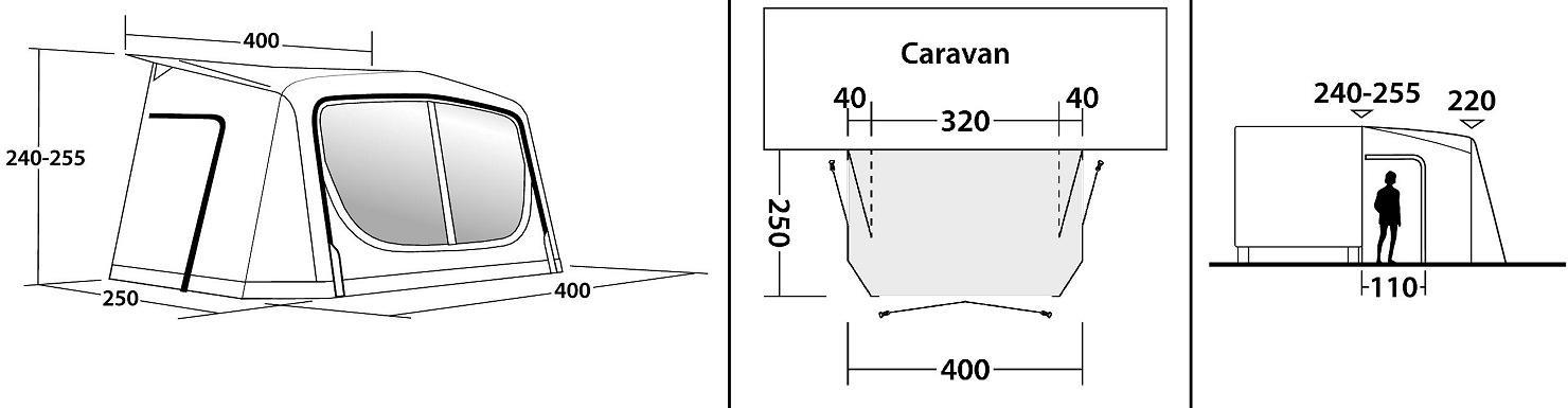 Outwell Cove 400A Wohnwagen Vorzelt, 240 255, Luftschläuche