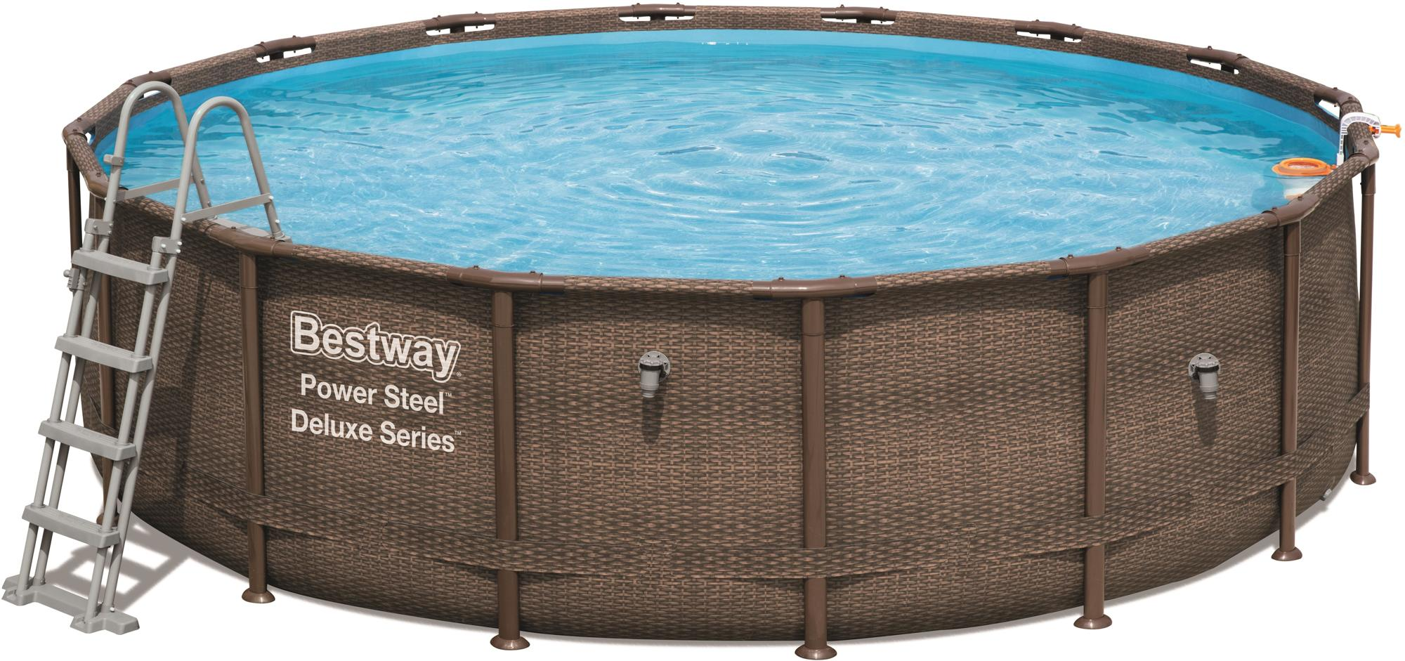 Top Bestway Power Steel Deluxe Series Frame Pool, Komplett-Set, rund PA06